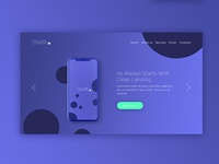 Landing page design for startify