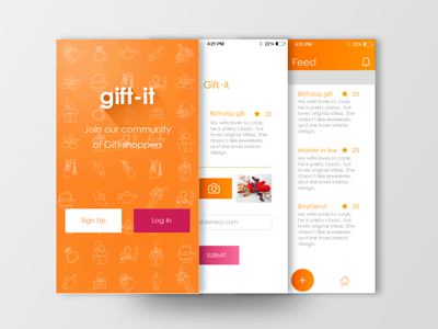 Gif-tit log in sign up login login screen mobile app visual design ux ui