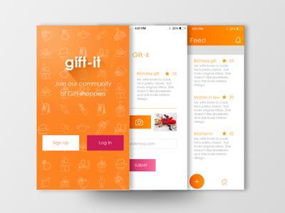 Gif-tit log in sign up login login screen mobile app visual design ux ui