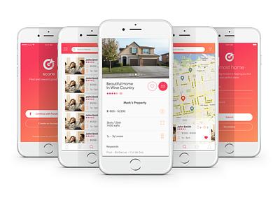 Score - Project map screen launch screen profile mobile ui