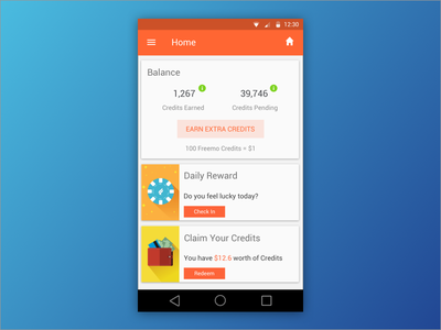 Freemo android cards home screen material design