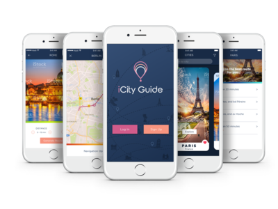 City Guide log in sign up tourism home screen map