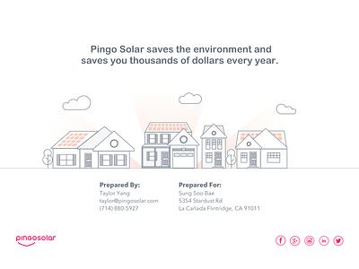 Pingo Solar - Solar at Low Rates illustration work house illustration neighborhood clean energy solar powerpoint illustration
