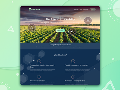 CHADENN why team blockchain token agriculture dark blue vibrant gradient home page food industry web
