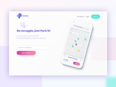 Park'in splash page mobile mobile hero website logo