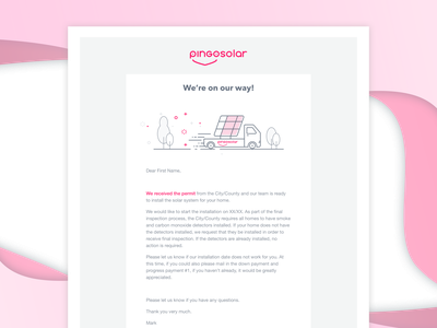 Email - Pingo magic eco-friendly eco friendly ecofriendly clean energy solar panels solar energy solar panel solar installation arrival email template email