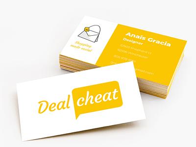 Dealcheat yellow business card mockup business card design business card shopping app shopping