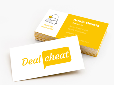Dealcheat yellow business card mockup business card design business card shopping app shopping