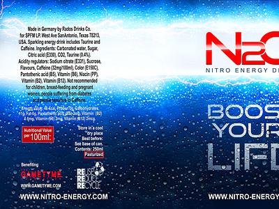N20: Nitro Energy Drink (Alt 4) design branding