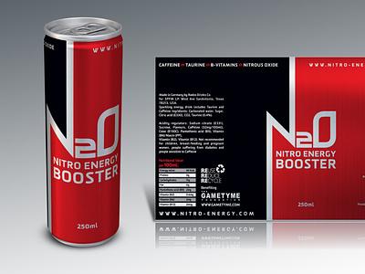 N20: Nitro Energy Drink (Red & Black) design branding