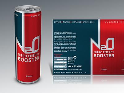 N20: Nitro Energy Drink (Red & Dark Blue) design branding