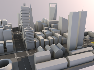 Rough City Model for Our Game Jam Project model white building c4d