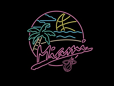 Miami Heat Beach Party neon sign miami heat beach party neon sign tom philibeck nba adidas miami south beach basketball adidas originals