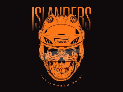 Islanders - Halloween 2015 nhl new york islanders new york reebok illustration spooky skull hockey isles islanders halloween