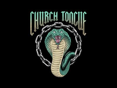 Cobra CHAINZ pointillism stippling illustration band shirt tom philibeck cobra
