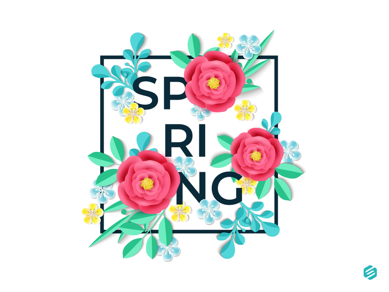 Spring is Here vector design flowers illustration ai spring