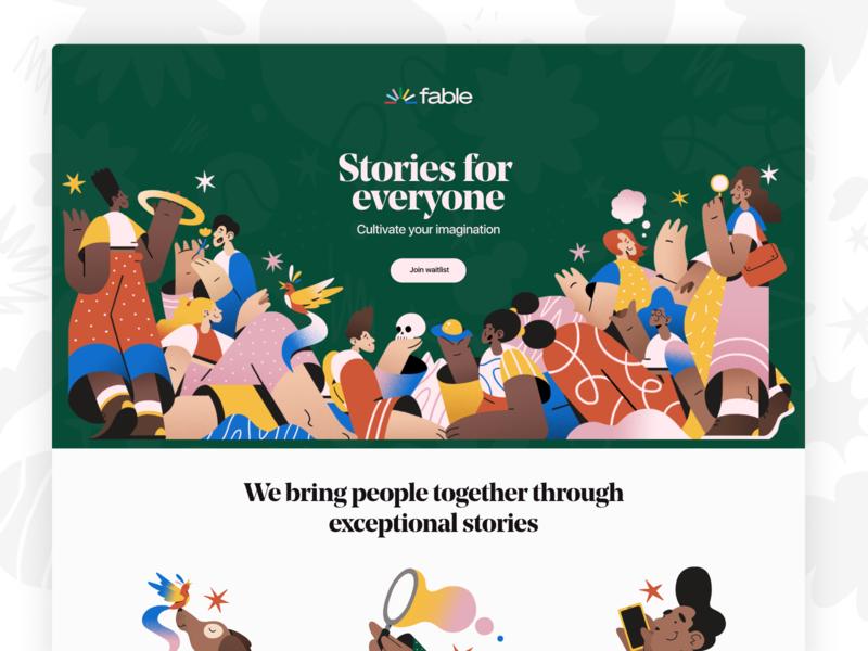 Fable Landing Page illustraion mental health reading books ux branding mobile ui design conversational ui fitness healthcare ios messaging