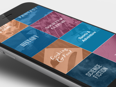 Book Discovery mobile ui search content discovery browse genres books scribd ios