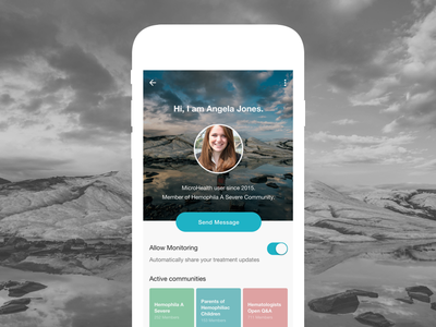 User Profile for Hemophilia app conversational ui hemophilia ui mobile ios messaging chatbot wellness healthcare profile mobile ui product design