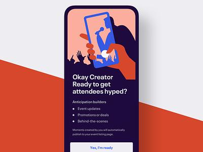 Welcome screen for event creators flat app promotion eventbrite illustration mobile event app event onboarding illustration onboarding ui welcome
