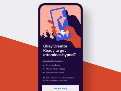 Welcome screen for event creators flat app promotion eventbrite illustration mobile event app event onboarding illustration onboarding ui welcome