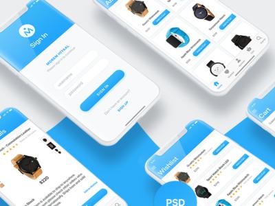 Morem Hiyaal   Ecommerce iOS UI Design   iPhone X   Free PSD