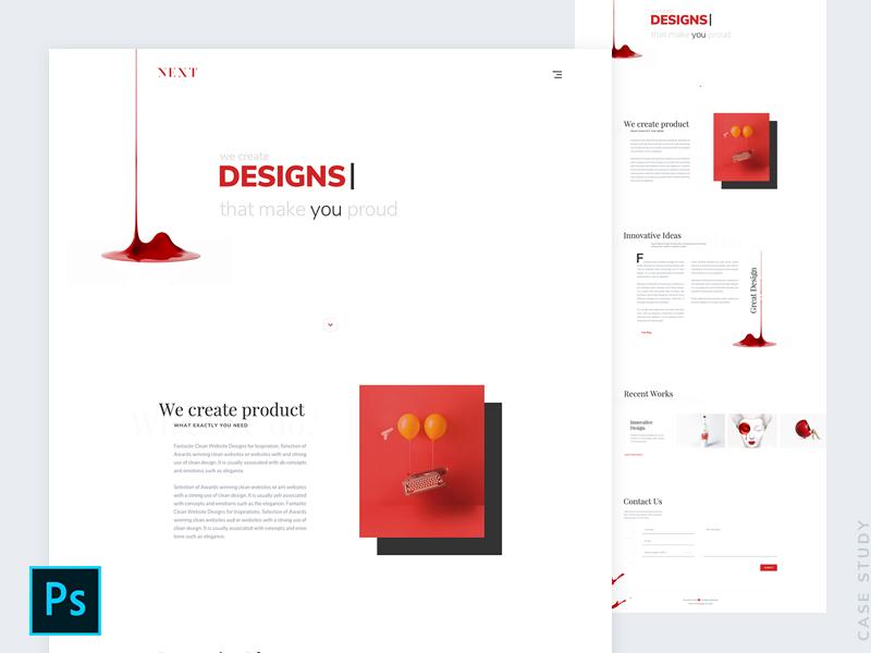 Next - Agency Landing Page Design - Free Psd - Case Study clean white red digital agency agency ux design minimal website web design ui design
