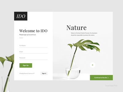 Daily UI 001 - Nature Sign Up _ Free PSD neat minimal clean leaf natural nature dribbble free psd ui challenge sign up daily ui ui design