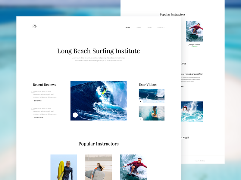 Daily UI 026 - Surfing Institute Landing Page Design - Free PSD sleek download psd institute surfing clean minimal beach ux web design landing page ui design