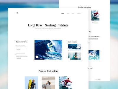Daily UI 026 - Surfing Institute Landing Page Design - Free PSD sleek download psd institute surfing clean minimal beach ux web design landing page ui design