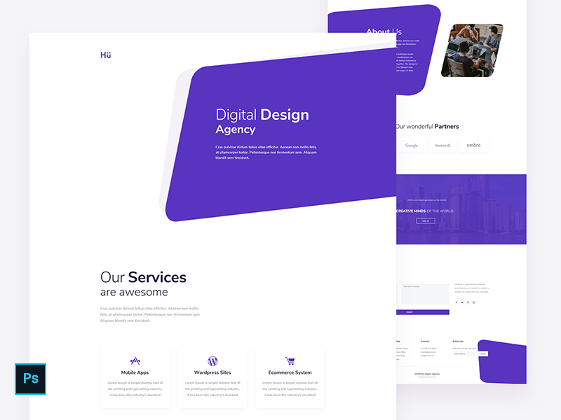 Daily UI 028 - Digital Design Agency - Home Page - Free PSD psd download free psd practice website web page home page ui design digital agency daily ui 028