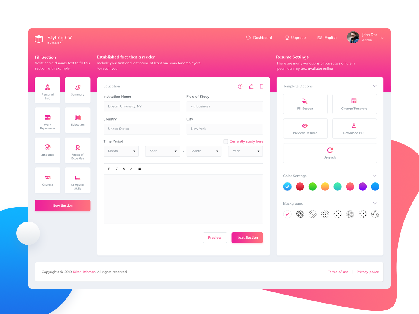 Resume Builder App Ui Design By Rikon Rahman Dribbble Dribbble