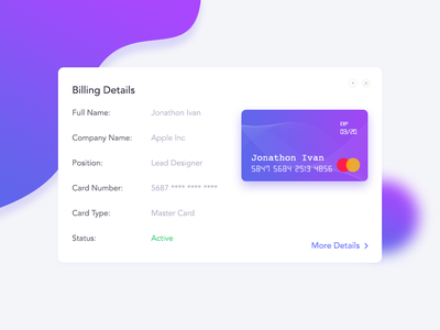 Daily UI 035 - UI Design for Credit Card Details
