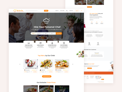 My Home Chef - Personal Chef Booking Website UI Design chef in london london persona chef hire chef eat food rikonrahman clean minimal ux design personal chef chef booking ui design landing page website web design