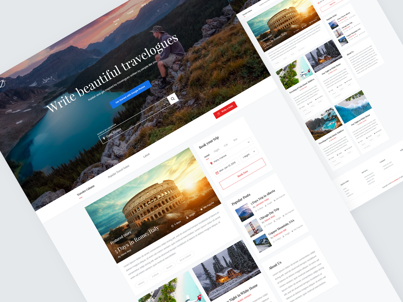 Home Page Travel Blog Website Landing Page Ui Design By