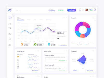 Financial Investing Web App - Dashboard UI Design