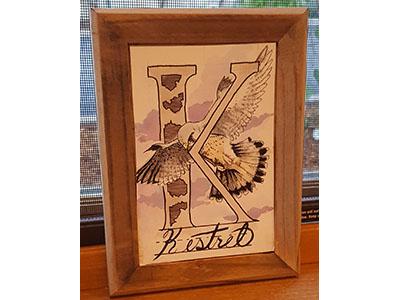 K is for Kestrel watercolor ink typography lettering handdrawn