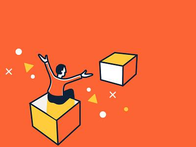 Lumosity Illustrations simple adobe illustrator vector outline orange yellow cube lumosity illustration