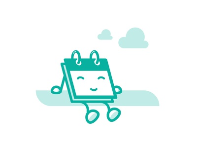 Vacation cloud planning schedule happy relax chill illustration character design icon kawaii holiday vacation calender