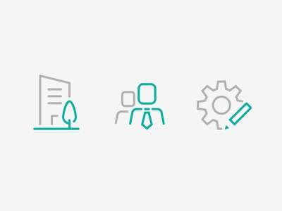 3 icons tree building people cogwheel pencil management settings company pictogram iconography icons icon