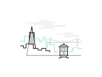 San Francisco san francisco minimal skyline outline bridge icons illustration