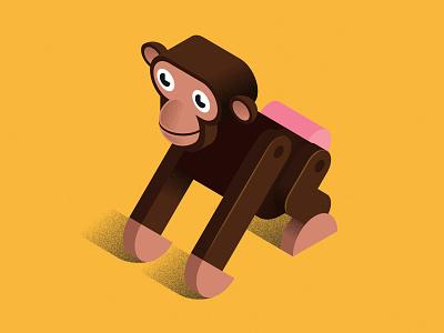 Monkey Business geometric illustration animal illustration character design vector artwork isometric illustration ape monkey mezoozoo