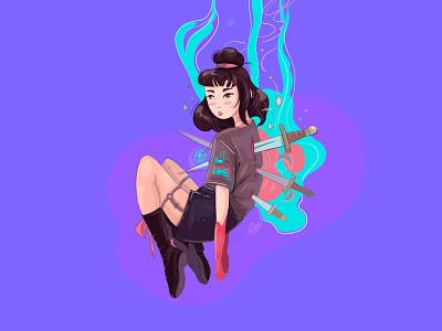 girl knife 2d cute vector cartoon adventure fantasy anime illustration girl flat design character
