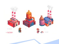 """building sketches for the game """"factories"""""""