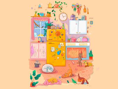 Sweet sunny kitchen.🌞 animal illustration animal 2d draw vector personage cute characters design illustration cartoon adventure