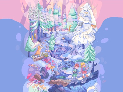 enchanted forest🌲🌳🌲 draw magic cartoon character personage cute 2d characters forest design illustration cartoon adventure