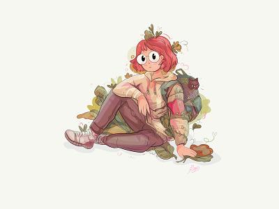 KAYA vector drawing magic cat girl people peopl personage characters adventure illustration cute design cartoon