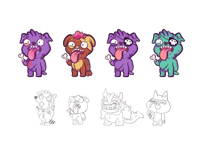 Sketches and characters. Crazy dogs. games dog cat drawing character design line crazy vector personage characters illustration design cartoon