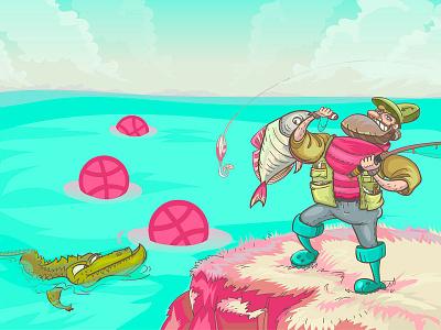 Hello Dribbble! cool sea fish fisherman crocodile adventure personage characters design cute cartoon fishing debut