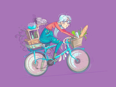 grandmother cute nicely sport cell house motion aquarium characters design illustration cartoon adventure ages age buy bicycle grandmother luggage home cat